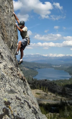 Chris Baumann rock climbing at Donner Summit photo