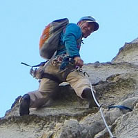 Chris Baumann of In Stone Rock Climbing leads Corrugation Corner at Lovers Leap