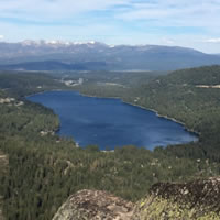 Donner Lake viewed from atop Mitigate, a mutipitch at Donner Summit